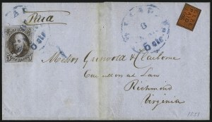 Sale Number 1041, Lot Number 249, Carriers and Locals Used with 1847 Issue5c Dark Brown (1a), 5c Dark Brown (1a)