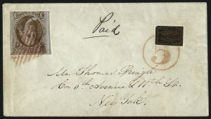 Sale Number 1041, Lot Number 257, Carriers and Locals Used with 1847 Issue5c Red Brown (1), 5c Red Brown (1)