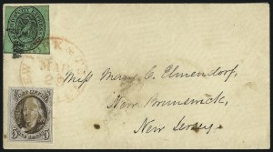 Sale Number 1041, Lot Number 261, Carriers and Locals Used with 1847 Issue5c Red Brown (1), 5c Red Brown (1)