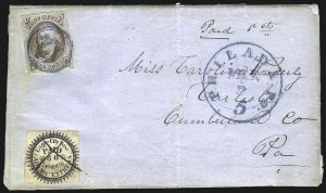 Sale Number 1041, Lot Number 262, Carriers and Locals Used with 1847 Issue5c Red Brown (1), 5c Red Brown (1)