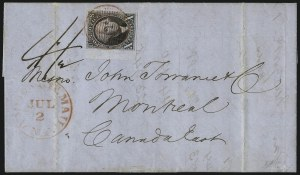 Sale Number 1041, Lot Number 276, Pre-Treaty Mail and 3p Ferriage Rate to Canada and British America10c Black (2), 10c Black (2)