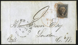 Sale Number 1041, Lot Number 279, Pre-Treaty Mail and 3p Ferriage Rate to Canada and British America10c Black (2), 10c Black (2)