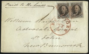 Sale Number 1041, Lot Number 280, Pre-Treaty Mail and 3p Ferriage Rate to Canada and British America5c Dark Brown (1a), 5c Dark Brown (1a)
