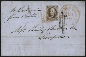 Sale Number 1041, Lot Number 298, Pre-Treaty, Retaliatory and Treaty-Rate Mail to England and Scotland5c Deep Red Brown (1), 5c Deep Red Brown (1)