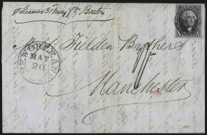 Sale Number 1041, Lot Number 299, Pre-Treaty, Retaliatory and Treaty-Rate Mail to England and Scotland10c Black (2), 10c Black (2)