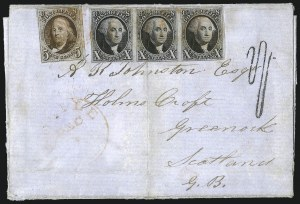 Sale Number 1041, Lot Number 301, Pre-Treaty, Retaliatory and Treaty-Rate Mail to England and Scotland5c Red Brown, 10c Black (1, 2), 5c Red Brown, 10c Black (1, 2)
