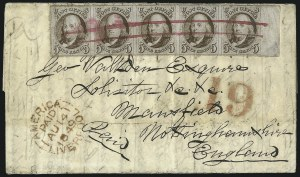 Sale Number 1041, Lot Number 302, Pre-Treaty, Retaliatory and Treaty-Rate Mail to England and Scotland5c Red Brown (1), 5c Red Brown (1)
