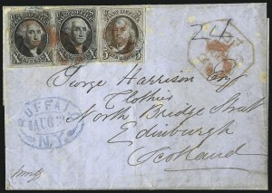 Sale Number 1041, Lot Number 303, Pre-Treaty, Retaliatory and Treaty-Rate Mail to England and Scotland5c Red Brown, 10c Black (1, 2), 5c Red Brown, 10c Black (1, 2)
