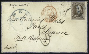 Sale Number 1041, Lot Number 306, Mail to France, Italy, Germany, Silesia, Prague, Belgium, Holland5c Red Brown (1), 5c Red Brown (1)