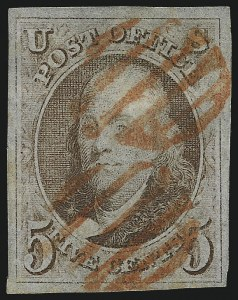 Sale Number 1041, Lot Number 35, Off-Cover 5-Cent Cancellations5c Red Brown (1), 5c Red Brown (1)