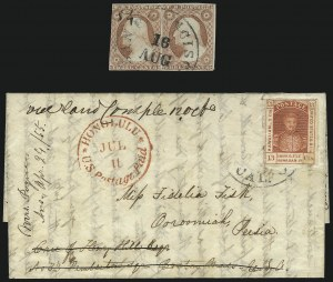 Sale Number 1041, Lot Number 350, Hawaiian Mails incl. 13c Missionary and to PersiaHawaii, 1853, 13c Dark Red, Thick White Wove (6), Hawaii, 1853, 13c Dark Red, Thick White Wove (6)
