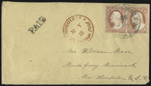 Sale Number 1041, Lot Number 353, Hawaiian Mails incl. 13c Missionary and to Persia3c Dull Red, Ty. II (11A), 3c Dull Red, Ty. II (11A)