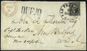 Sale Number 1041, Lot Number 354, Hawaiian Mails incl. 13c Missionary and to Persia12c Black (17), 12c Black (17)