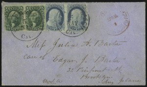 Sale Number 1041, Lot Number 355, Hawaiian Mails incl. 13c Missionary and to Persia10c Green, Ty. I (13), 10c Green, Ty. I (13)