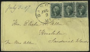 Sale Number 1041, Lot Number 356, Hawaiian Mails incl. 13c Missionary and to Persia10c Green, Ty. II, III (14, 15), 10c Green, Ty. II, III (14, 15)