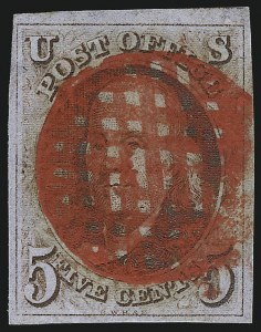 Sale Number 1041, Lot Number 37, Off-Cover 5-Cent Cancellations5c Red Brown (1), 5c Red Brown (1)