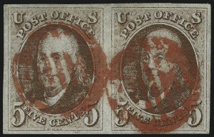 Sale Number 1041, Lot Number 40, Off-Cover 5-Cent Cancellations5c Red Brown (1), 5c Red Brown (1)