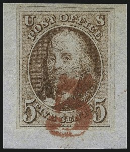 Sale Number 1041, Lot Number 51, Off-Cover 5-Cent Cancellations5c Red Brown (1), 5c Red Brown (1)