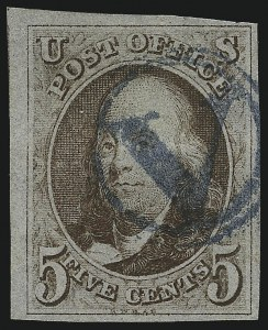 Sale Number 1041, Lot Number 52, Off-Cover 5-Cent Cancellations5c Dark Red Brown (1), 5c Dark Red Brown (1)