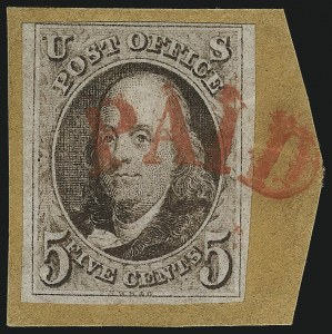 Sale Number 1041, Lot Number 57, Off-Cover 5-Cent Cancellations5c Red Brown (1), 5c Red Brown (1)
