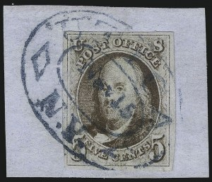 Sale Number 1041, Lot Number 58, Off-Cover 5-Cent Cancellations5c Brown (1), 5c Brown (1)