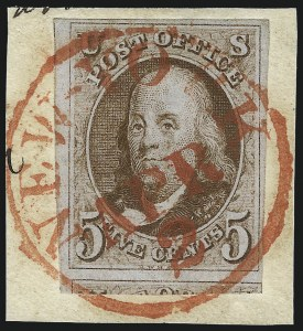 Sale Number 1041, Lot Number 59, Off-Cover 5-Cent Cancellations5c Red Brown (1), 5c Red Brown (1)