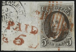 Sale Number 1041, Lot Number 60, Off-Cover 5-Cent Cancellations5c Dark Brown (1a), 5c Dark Brown (1a)