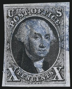 Sale Number 1041, Lot Number 64, Off-Cover 10-Cent Plate Varieties and Sheet Margins10c Black, Double Transfer Ty. A (2-A), 10c Black, Double Transfer Ty. A (2-A)