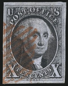 Sale Number 1041, Lot Number 65, Off-Cover 10-Cent Plate Varieties and Sheet Margins10c Black, Double Transfer Ty. B (2-B), 10c Black, Double Transfer Ty. B (2-B)