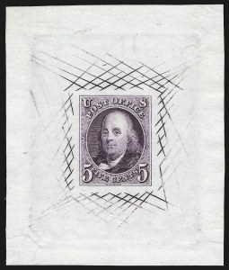 Sale Number 1041, Lot Number 9, Essays and Proofs5c Violet, Large Die Trial Color Proof on India (1TC1ae), 5c Violet, Large Die Trial Color Proof on India (1TC1ae)