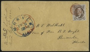 Sale Number 1041, Lot Number 95, On-Cover Domestic Uses by State: Alabama thru Delaware5c Red Brown (1), 5c Red Brown (1)