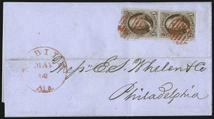 Sale Number 1041, Lot Number 97, On-Cover Domestic Uses by State: Alabama thru Delaware5c Red Brown (1), 5c Red Brown (1)