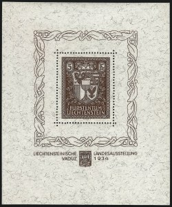 Sale Number 1042, Lot Number 3702, LiechtensteinLIECHTENSTEIN, 1934, 5m Vaduz Souvenir Sheet (115; Michel Block 1), LIECHTENSTEIN, 1934, 5m Vaduz Souvenir Sheet (115; Michel Block 1)