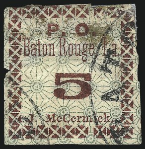 "Sale Number 1043, Lot Number 2007, Postmasters` Provisionals, Athens Ga. thru Montgomery Ala.Baton Rouge La., 5c Green & Carmine, Maltese Cross Border, ""McCcrmick"" Error (11X2a), Baton Rouge La., 5c Green & Carmine, Maltese Cross Border, ""McCcrmick"" Error (11X2a)"