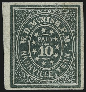 "Sale Number 1043, Lot Number 2045, Postmasters` Provisionals, Nashville Tenn.Nashville Tenn., 10c Green (61X6). Comma after ""P"" of ""P.M, Nashville Tenn., 10c Green (61X6). Comma after ""P"" of ""P.M"