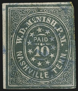 "Sale Number 1043, Lot Number 2046, Postmasters` Provisionals, Nashville Tenn.Nashville Tenn., 10c Green (61X6). Comma after ""P"" of ""P.M, Nashville Tenn., 10c Green (61X6). Comma after ""P"" of ""P.M"