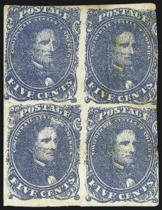 Sale Number 1043, Lot Number 2154, 5c Blue Lithograph (Scott 4)5c Blue, Stone 2 (4), 5c Blue, Stone 2 (4)