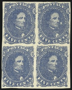 Sale Number 1043, Lot Number 2156, 5c Blue Lithograph (Scott 4)5c Blue, Stone 2 (4), 5c Blue, Stone 2 (4)