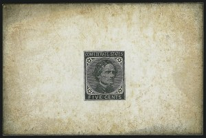 Sale Number 1043, Lot Number 2193, 5c De La Rue and Local Typographs (Scott 6-7)5c Black, De La Rue, Large Die Trial Color Proof on Glazed Card (6TC1), 5c Black, De La Rue, Large Die Trial Color Proof on Glazed Card (6TC1)