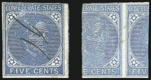 Sale Number 1043, Lot Number 2207, 5c De La Rue and Local Typographs (Scott 6-7)5c Blue, Local, Printed on Both Sides (7b), 5c Blue, Local, Printed on Both Sides (7b)