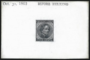 Sale Number 1043, Lot Number 2307, General Issue Essays and Proofs5c Black, De La Rue, Large Die Trial Color Proof on Glazed Card (6TC1 var), 5c Black, De La Rue, Large Die Trial Color Proof on Glazed Card (6TC1 var)