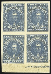 Sale Number 1043, Lot Number 2342, 10c Blue Lithograph Off-Cover (Scott 2b, 2)10c Dark Blue, Hoyer & Ludwig (2b), 10c Dark Blue, Hoyer & Ludwig (2b)