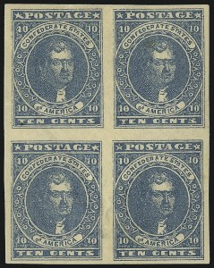 Sale Number 1043, Lot Number 2343, 10c Blue Lithograph Off-Cover (Scott 2b, 2)10c Dark Blue, Hoyer & Ludwig (2b), 10c Dark Blue, Hoyer & Ludwig (2b)
