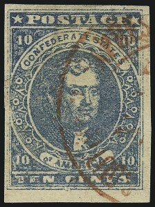 Sale Number 1043, Lot Number 2350, 10c Blue Lithograph Off-Cover (Scott 2b, 2)10c Dark Blue, Hoyer & Ludwig (2b), 10c Dark Blue, Hoyer & Ludwig (2b)