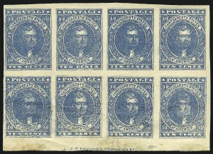 Sale Number 1043, Lot Number 2351, 10c Blue Lithograph Off-Cover (Scott 2b, 2)10c Blue, Paterson (2), 10c Blue, Paterson (2)