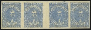 Sale Number 1043, Lot Number 2353, 10c Blue Lithograph Off-Cover (Scott 2b, 2)10c Blue, Paterson (2), 10c Blue, Paterson (2)