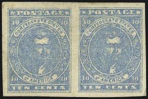 Sale Number 1043, Lot Number 2356, 10c Blue Lithograph Off-Cover (Scott 2b, 2)10c Blue, Paterson, Hoyer & Ludwig (2, 2a, 2b), 10c Blue, Paterson, Hoyer & Ludwig (2, 2a, 2b)