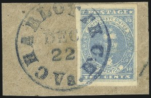 Sale Number 1043, Lot Number 2357, 10c Blue Lithograph Off-Cover (Scott 2b, 2)10c Blue, Paterson (2), 10c Blue, Paterson (2)