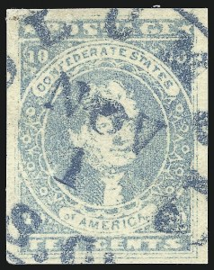 Sale Number 1043, Lot Number 2359, 10c Blue Lithograph Off-Cover (Scott 2b, 2)10c Light Milky Blue, Stone Y (2e), 10c Light Milky Blue, Stone Y (2e)
