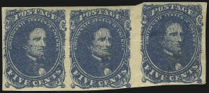 Sale Number 1043, Lot Number 2372, 5c Blue Lithograph Off-Cover (Scott 4)5c Blue, Stone 2 (4), 5c Blue, Stone 2 (4)